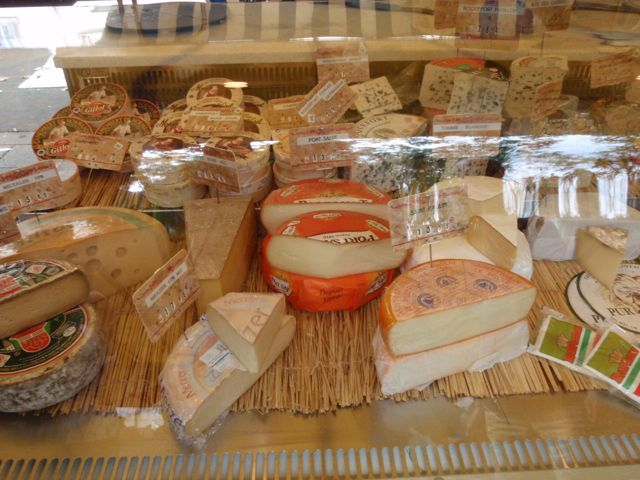 Cheese counter at the Bastille market